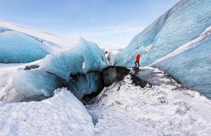 Andar num glaciar em Sólheimajökull