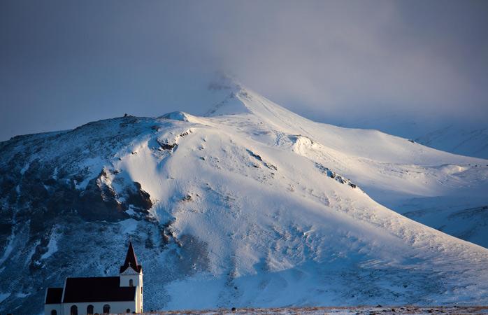 O Glaciar de Snæfellsjökull Glacier, um dos picos mais pitorescos da Islândia