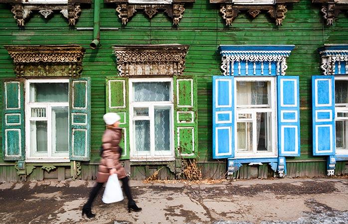 Uma casa de madeira tradicional em Irkutsk