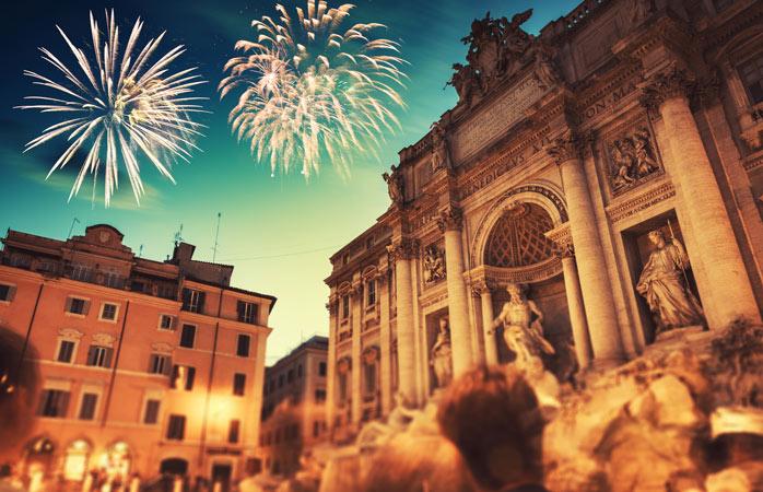 A Fonte de Trevi em Roma é um lugar tão bom como qualquer outro para acolher o novo ano na cidade