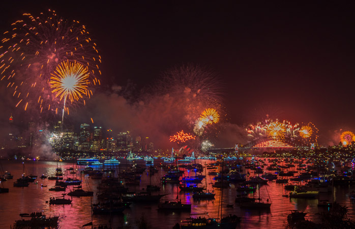 Usher in the New Year aboard one of the many boats in Sydney's radiant Harbour of light parade