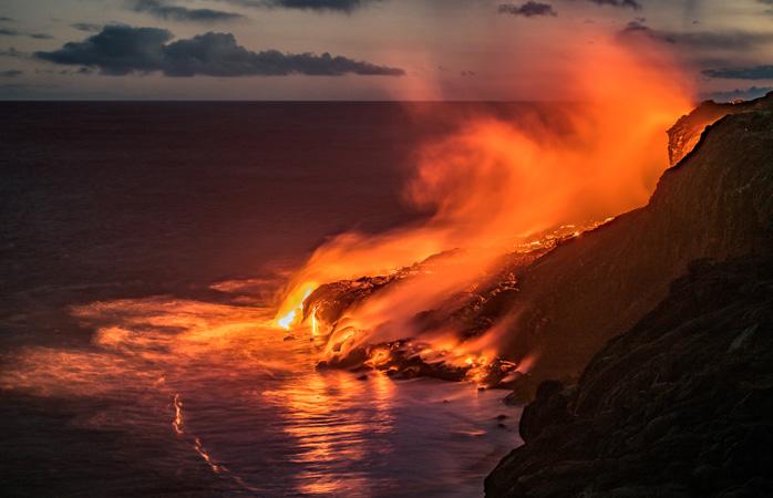 A Ilha Grande no Havai é uma terra de água e fogo, literalmente