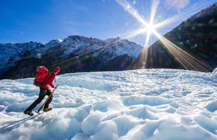 Faz umas férias de escalada este inverno no Glaciar Fox do Parque Nacional Westland Tai Poutini, Nova Zelândia