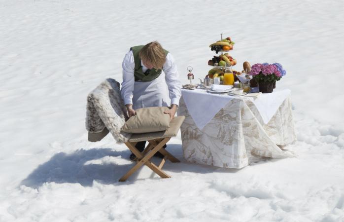Janta de luxo nas montanhas de Zurs