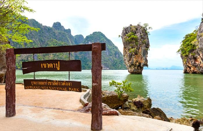 A pedra de Ko Tapu faz parte do Parque Nacional Ao Phang Nga.
