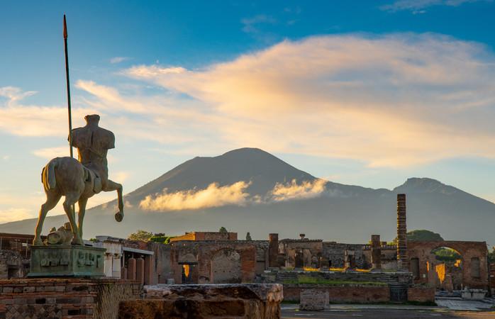 A vista do Monte Vesúvio a partir de Pompeia