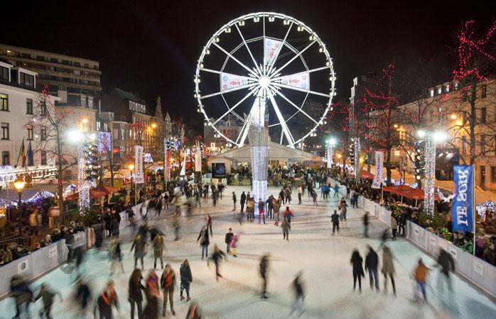 Faz uma pausa das compras de Natal e patina na Place Sainte-Catherine em Bruxelas
