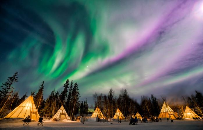 Admira o espetáculo de luzes - Yellowknife, Canadá