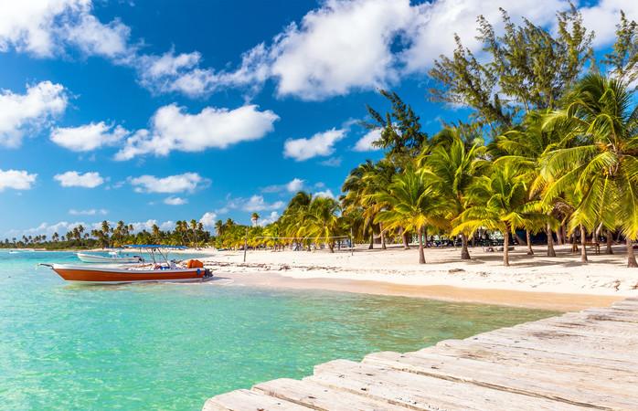 Praias tropicais à mão de semear em Punta Cana