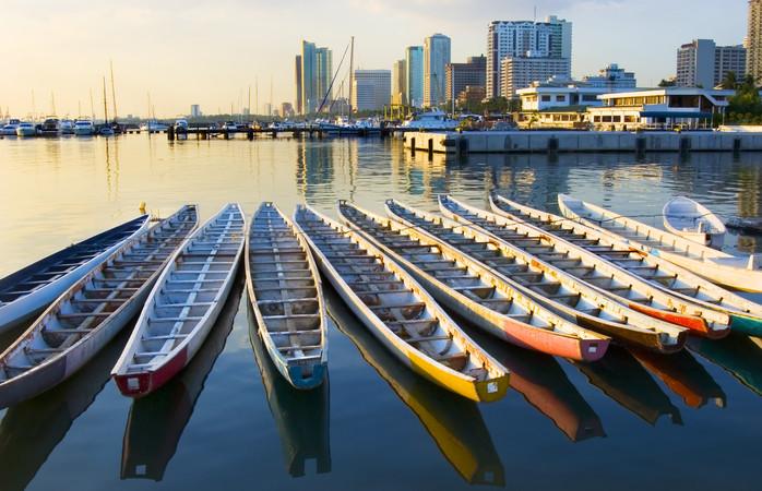 A bonita metrópole de Manila à beira-mar