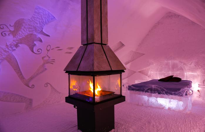 Imagina-te a dormir num deste quartos... Foto: Hôtel de Glace