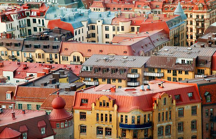 Os telhados coloridos de Gotemburgo na Suécia