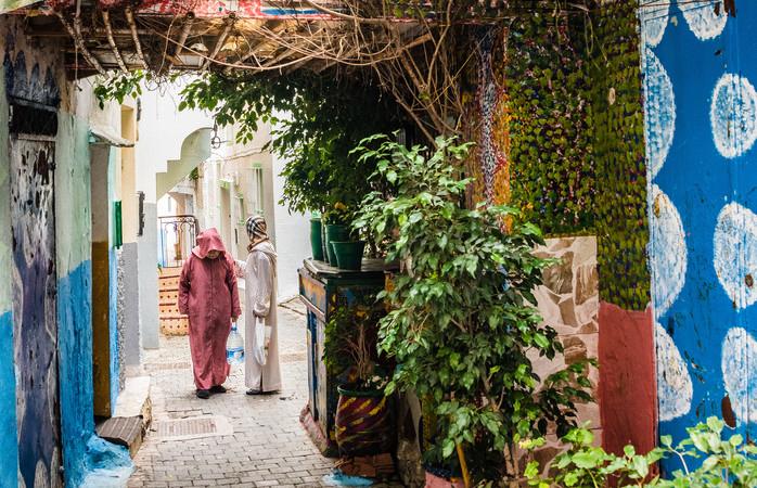 As ruas estreitas da Medina de Tânger.