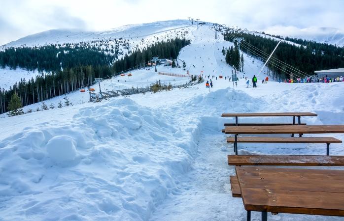 Ski low-cost em Jasna, Eslováquia - O Funitel, um teleférico moderno, no pico de Chopok
